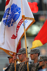 06 Sep 2014:  ISU Army ROTC Color Guard during a non-conference NCAA football game between the Delta Devils of Mississippi Valley State and the Redbirds of Illinois State at Hancock Stadium in Normal Il