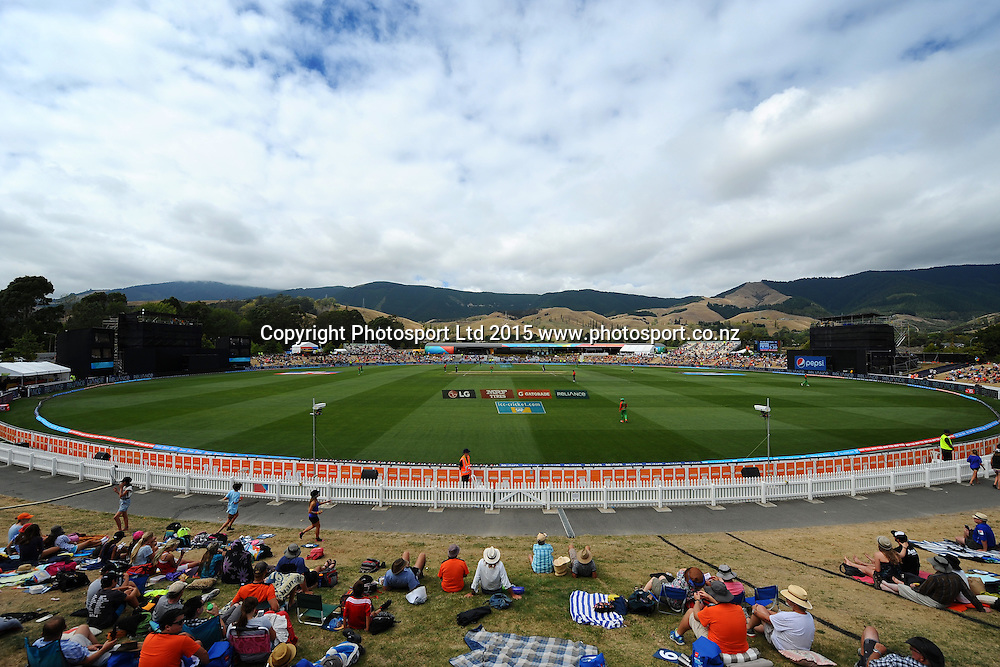 General view of Saxton Oval during the 2015 ICC Cricket World Cup match between Bangladesh v Scotland. Saxton Oval, Nelson, New Zealand. Thursday 5 March 2015. Copyright Photo: Chris Symes / www.photosport.co.nz