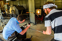 Glassblowing, Garden City Glass at Jewell Gardens, Skagway, Alaska USA.