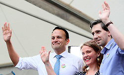 An Taoiseach Leo Varadkar (left), Minister for Health Simon Harris and Senator Catherine Noone wave to the crowd at Dublin Castle as they arrive for the results of the referendum on the 8th Amendment of the Irish Constitution which prohibits abortions unless a mother's life is in danger. Picture date: Saturday May 26, 2018. See PA story IRISH Abortion. Photo credit should read: Brian Lawless/PA Wire