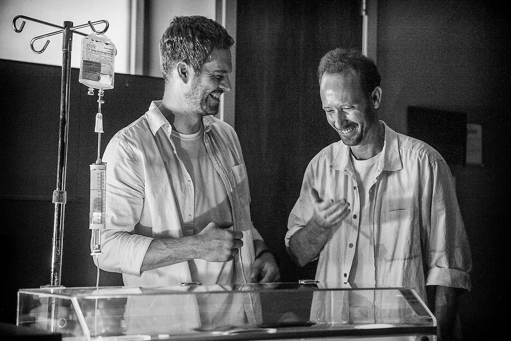Actor Paul Walker and stand-in Shayne Tingle on the set of HOURS directed by Eric Heisserer.