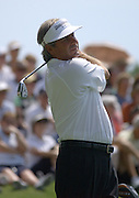 Jun 26, 2006; Gaylord MI; Fred Couples warms up prior to the start of the ING Par-3 Shootout at Treetops Resort in Gaylord Michigan.