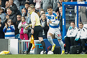 Queens Park Rangers forward Lewis Walker (34) (youngest son of Des Walker) coming on in his club debut during the EFL Sky Bet Championship match between Queens Park Rangers and Swansea City at the Loftus Road Stadium, London, England on 13 April 2019.