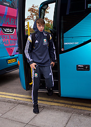 NEWPORT, WALES - Sunday, September 24, 2017: Wales' Liam Higgins steps off the team coach as the squad arrive ahead of an Under-16 International friendly match between Wales and Gibraltar at the Newport Stadium. (Pic by David Rawcliffe/Propaganda)