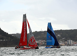 LISBON, Nov. 4, 2017  Dongfeng Race Team (L) competes with Vestas 11th Hour Racing during the In-port Race prior to the Volvo Ocean Race in Lisbon, Portugal, on Nov. 3, 2017. (Credit Image: © Zhang Liyun/Xinhua via ZUMA Wire)