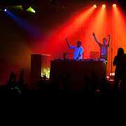 March 28, 2012 - New York, NY : British dubstep music producers (DJ's) Skream, center right, & Benga, center left, perform at the Best Buy Theater in Manhattan on Wednesday evening. CREDIT: Karsten Moran for The New York Times