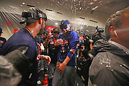 September 27, 2017 - St. Louis, MO, USA - Chicago Cubs third baseman Kris Bryant (17), gets sprayed by Chicago Cubs relief pitcher Pedro Strop (46), celebrating their team's division clinch with a win over the St. Louis Cardinals on Wednesday, Sept., 27, 2017 at Busch Stadium in St. Louis, Mo. (Credit Image: © Nuccio Dinuzzo/TNS via ZUMA Wire)