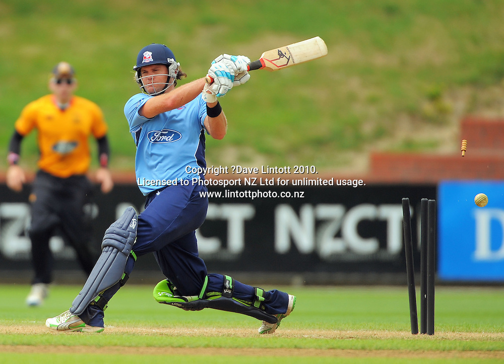 Auckland's Lou Vincent gets cleanbowled by Harry Boam for 112. One Day cricket - Wellington Firebirds v Auckland Aces at Allied Nationwide Finance Basin Reserve, Wellington on Wednesday, 2 February 2011. Photo: Dave Lintott / photosport.co.nz