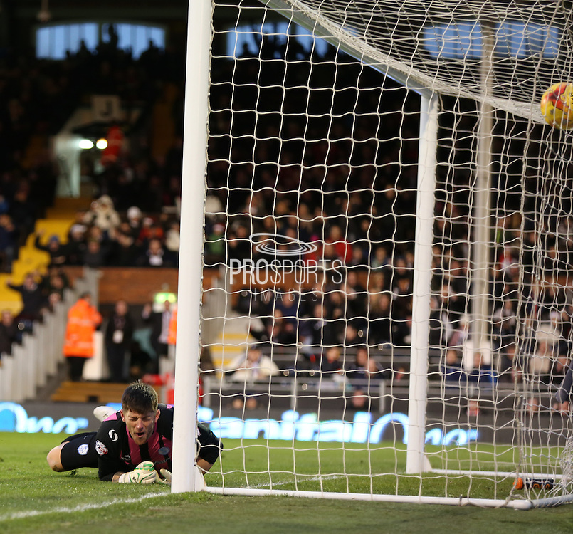 4. Shaun Hutchinson  scoring past 1. Keiren Westwood during the Sky Bet Championship match between Fulham and Sheffield Wednesday at Craven Cottage, London, England on 20 December 2014. Photo by Matthew Redman.