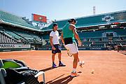Rafael Nadal (ESP), Carlos Moya (ESP) Trainer at practice on on Philippe Chatrier tennis stadium during the Roland Garros French Tennis Open 2017, preview, on May 25, 2017, at the Roland Garros Stadium in Paris, France - Photo Stephane Allaman / ProSportsImages / DPPI