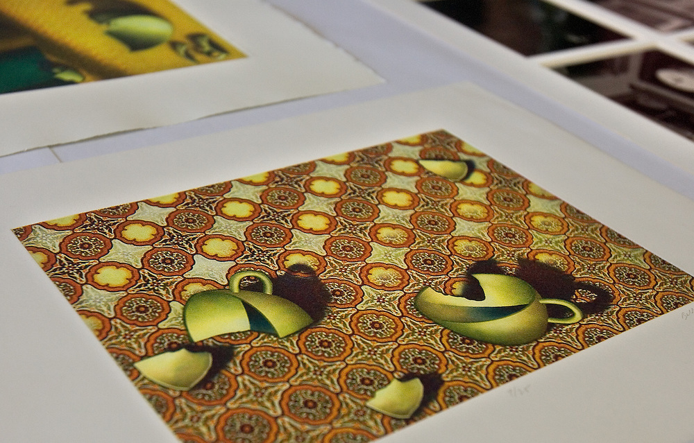 """Prints are on display during the 2006 Mid America Print Council conference """"Forging Connections"""" at Ohio University on Friday, 9/22/06. The conference runs from September 20-23. Around 700 printmakers, students, curators and other art professionals are expected to attend the biennial event."""