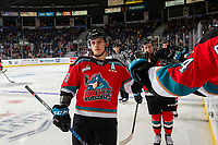 KELOWNA, BC - NOVEMBER 1:  Leif Mattson #28 of the Kelowna Rockets celebrates a second period goal against the Prince George Cougars at Prospera Place on November 1, 2019 in Kelowna, Canada. (Photo by Marissa Baecker/Shoot the Breeze)