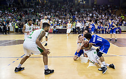 Gregor Hrovat #15 of KK Union Olimpija between Miha Fon and Darwin Davis Jr of Rogaska during basketball match between KK Union Olimpija and KK Rogaska in 2nd Final game of Liga Nova KBM za prvaka 2016/17, on May 19, 2017 in Hala Tivoli, Ljubljana, Slovenia. Photo by Vid Ponikvar / Sportida