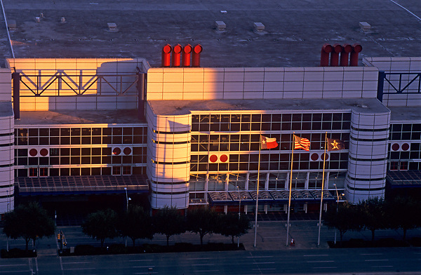 Stock photo of an aerial view of the George R. Brown Convention Center.