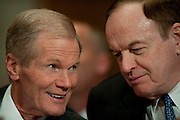 May 11,2010 - Washington, District of Columbia USA - Senator Ben Nelson (D-FL) talks with Senator Richard Shelby (R- AL)  during a Senate Environment and Public Works Committee Hearing on Issues in Offshore Oil Drilling. Nelson and Shelby were two of five Senators testifying before the committee about the impact of the accident in the Gulf of Mexico involving the offshore oil rig Deepwater Horizon.(Credit Image: © Pete Marovich/ZUMA Press)