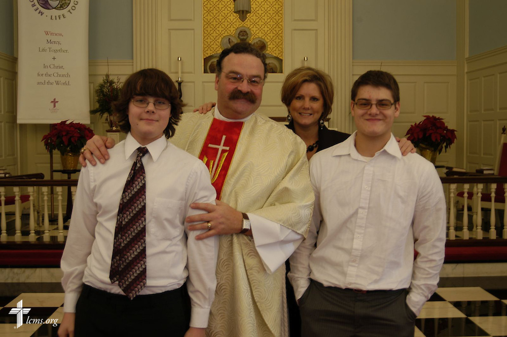 LCMS President Rev. Matthew C. Harrison with his wife, Kathy, and their two sons.
