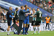 AFC Wimbledon manager Neal Ardley talks to AFC Wimbledon defender Paul Robinson (6) during the Sky Bet League 2 play off final match between AFC Wimbledon and Plymouth Argyle at Wembley Stadium, London, England on 30 May 2016.
