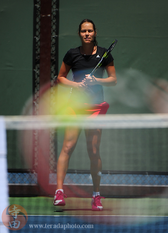 July 27, 2010; Stanford, CA, USA; Ana Ivanovic (SRB) practices during the Bank of the West Classic women's tennis tournament at the Taube Family Tennis Stadium. Mandatory Credit: Kyle Terada-Terada Photo