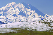 Alaska. Denali National Park. Mt McKinley (20,320 ft) and Thoroughfare Pass after August snowfall.