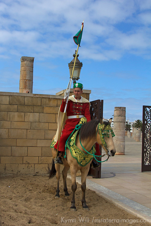 Africa, Morocco, Rabat. Guard on horse.