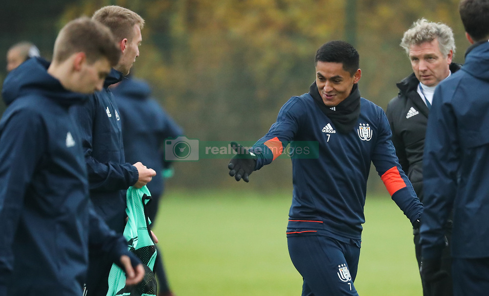 November 21, 2017 - Brussels, BELGIUM - Anderlecht's Andy Najar gestures during a training of Belgian soccer team RSC Anderlecht, Tuesday 21 November 2017 in Brussels. Tomorrow Anderlecht is playing a game in the group stage (Group B) of the UEFA Champions League competition against German Bayern Munich. BELGA PHOTO VIRGINIE LEFOUR (Credit Image: © Virginie Lefour/Belga via ZUMA Press)