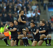 2005 Rugby, Investec Challenge, England vs New Zealand, All Black skipper Tana Umaga leads the Haka challenge.   RFU Twickenham, ENGLAND:     19.11.2005   © Peter Spurrier/Intersport Images - email images@intersport-images..