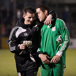 BRISTOL, ENGLAND - Thursday, January 15, 2009: Liverpool's goalkeeper Dean Bouzanis and goalkeeper Deale Chamberlain after the FA Youth Cup victory over Bristol Rovers at the Memorial Stadium. (Mandatory credit: David Rawcliffe/Propaganda)