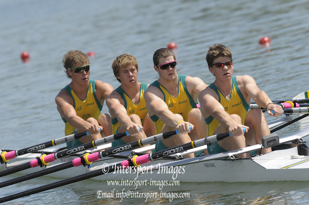 Brive, FRANCE,  AUS JM4X, Bow, Louis SNELSON, Cameron SMITH, Benjamin MORLEY and David PROSSER at the start, for their heat of the Junior men's four.  2009 FISA Junior World Rowing Championships,  Brive La GAILLARDE. Wednesday 05/08/2009 [Mandatory Credit. Peter Spurrier/Intersport Images] Lac du Causse