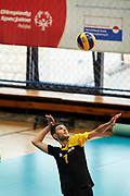 Katowice, Poland - 2017 September 03: Athlete Savalan Shahbazov from SO Azerbaijan serves the ball while Third Place  match between SO Azerbaijan and SO Czech Republic during European Unified Volleyball Tournament 2017 at Spodek Hall on September 03, 2017 in Katowice, Poland.<br /> <br /> Adam Nurkiewicz declares that he has no rights to the image of people at the photographs of his authorship.<br /> <br /> Picture also available in RAW (NEF) or TIFF format on special request.<br /> <br /> Any editorial, commercial or promotional use requires written permission from the author of image.<br /> <br /> Image can be used in the press when the method of use and the signature does not hurt people on the picture.<br /> <br /> Mandatory credit:<br /> Photo by &copy; Adam Nurkiewicz / Mediasport