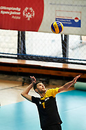 Katowice, Poland - 2017 September 03: Athlete Savalan Shahbazov from SO Azerbaijan serves the ball while Third Place  match between SO Azerbaijan and SO Czech Republic during European Unified Volleyball Tournament 2017 at Spodek Hall on September 03, 2017 in Katowice, Poland.<br /> <br /> Adam Nurkiewicz declares that he has no rights to the image of people at the photographs of his authorship.<br /> <br /> Picture also available in RAW (NEF) or TIFF format on special request.<br /> <br /> Any editorial, commercial or promotional use requires written permission from the author of image.<br /> <br /> Image can be used in the press when the method of use and the signature does not hurt people on the picture.<br /> <br /> Mandatory credit:<br /> Photo by © Adam Nurkiewicz / Mediasport