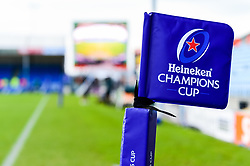Heineken Champions Cup branding on the flags on the pitch prior to kick off - Mandatory by-line: Ryan Hiscott/JMP - 13/01/2019 - RUGBY - Sandy Park Stadium - Exeter, England - Exeter Chiefs v Castres - Heineken Champions Cup