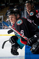 KELOWNA, CANADA - SEPTEMBER 5: Kaeden Korczak #6 of the Kelowna Rockets stands on the bench against the Kamloops Blazers on September 5, 2017 at Prospera Place in Kelowna, British Columbia, Canada.  (Photo by Marissa Baecker/Shoot the Breeze)  *** Local Caption ***