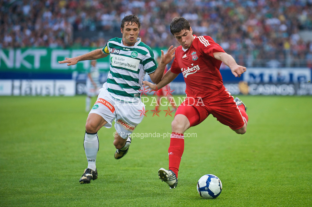 ST GALLEN, SWITZERLAND - Wednesday, July 15, 2009: Liverpool's Emiliano Insua during their opening preseason friendly match against FC St Gallen at the AFG Arena. (Pic by David Rawcliffe/Propaganda)