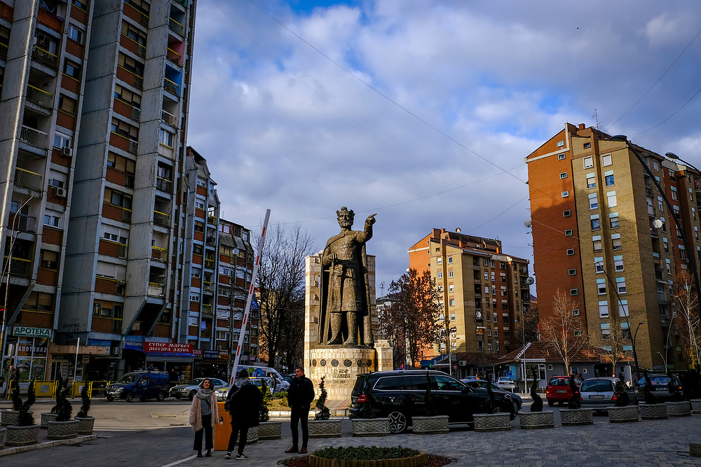 A statue of Prince Lazar of Serbia on the Serbian side (north side) of the Mitrovica bridge, over the river Ibar which separates the Serbian and Albanian districts of Mitrovica, Kosovo on the 12th of December 2018. Prince Lazar Hrebeljanović was a Serbian ruler who died in 1389 that created the most powerful state in the Sebian Empire. (photo by Andrew Aitchison / In pictures via Getty Images)