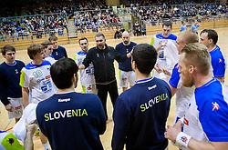 Boris Denic, head coach with players of Slovenia during friendly handball match between National Teams of Slovenia and F.Y.R. of Macedonia on December 28, 2013 in Sports hall Polaj, Trbovlje, Slovenia. Photo by Vid Ponikvar / Sportida