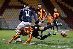 Gary Liddle of Bradford City is tackled by Martyn Woolford of Millwall - Photo mandatory by-line: Rogan Thomson/JMP - 07966 386802 - 14/01/2015 - SPORT - FOOTBALL - Bradford, England - Coral Windows Stadium - Bradford City v Millwall - FA Cup Third Round Replay.