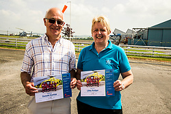 Pictured:  Volunteers Donald Dunlop and Libby Rodger with their certificates <br /> Deputy First Minister and local MSP  John Swinney visited Perth Airport today to visit Scotland's Charity Air Ambulance. The Perthshire North MSP will meet volunteers and present certificates to mark the start of National Volunteers' Week.<br /> <br /> <br /> Ger Harley | EEm 1 June 2018