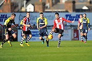 Lloyd James (4) of Exeter City on the attack during the EFL Sky Bet League 2 match between Exeter City and Stevenage at St James' Park, Exeter, England on 18 February 2017. Photo by Graham Hunt.