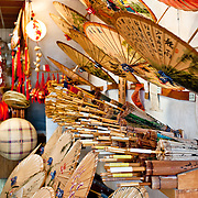 Traditional wax paper umbrellas for sale at Guangdexing Paper Umbrella Shop, Meinong Township, Kaohsiung County, Taiwan