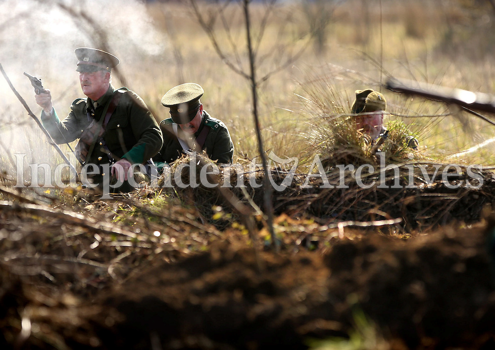 Easter Monday Ashbourne- 1916 battle of Ashbourne, Volunteers engage fire with the RIC during the ambush.  Picture; GERRY  MOONEY.  28/3/16