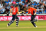 David Willey of England andAlex Hales of England running between the wickets during the International T20 match between England and India at the SWALEC Stadium, Cardiff, United Kingdom on 6 July 2018. Picture by Graham Hunt.