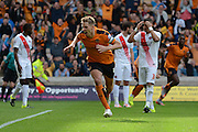 Dave Edwards celebrates equalising during the Sky Bet Championship match between Wolverhampton Wanderers and Charlton Athletic at Molineux, Wolverhampton, England on 29 August 2015. Photo by Alan Franklin.