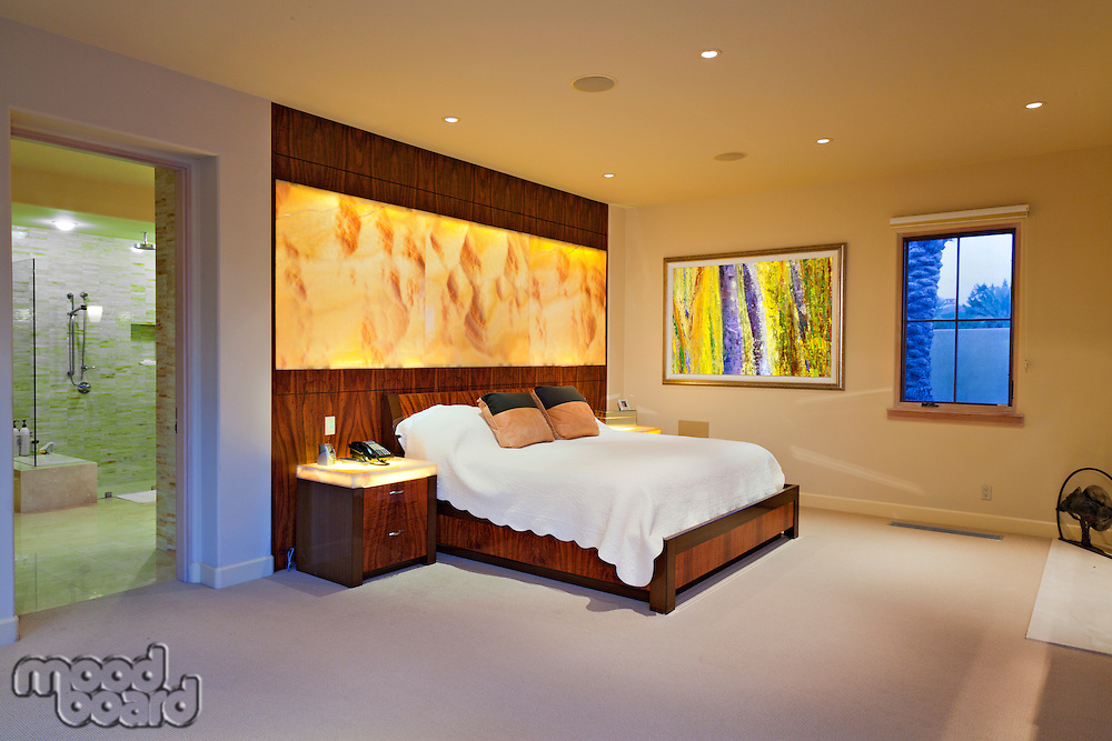 Modern master bedroom interior design in luxurious manor house