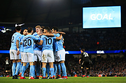 Raheem Sterling of Manchester City celebrates after scoring his sides first goal - Mandatory by-line: Matt McNulty/JMP - 10/02/2018 - FOOTBALL - Etihad Stadium - Manchester, England - Manchester City v Leicester City - Premier League