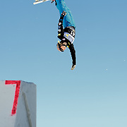 Bronze medalist Lacy Schnoor (Draper, UT) performs aerial acrobatics during the 2009 Sprint US Freestyle Championships held at the Utah Olympic Park in Park City on March 8, 2009.
