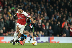 Pierre-Emerick Aubameyang of Arsenal tussles for the ball with Allan of Napoli - Mandatory by-line: Arron Gent/JMP - 11/04/2019 - FOOTBALL - Emirates Stadium - London, England - Arsenal v Napoli - UEFA Europa League Quarter Final 1st Leg