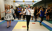 Gracie Avery, Cole Cabiness and Iyana Diaz leads some dance steps as they enjoy a Great Gatsby party at Tuscaloosa County High Thursday, March 9, 2017. The party is part of the students learning about the 1920s and Prohibition and jazz music as they have read The Great Gatsby in AP English class.  [Staff Photo/Gary Cosby Jr.]