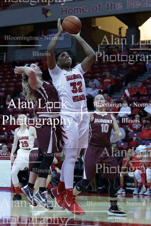 01 November 2017: Simone Goods underneath for a shot during a Exhibition College Women's Basketball game between Illinois State University Redbirds the Red Devils of Eureka College at Redbird Arena in Normal Illinois.