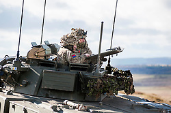 Two soldiers of the 19 Regiment Royal Artillery (The Scottish Gunners) observes from the turret of a Warrior  the accuracy of live rounds landing down range during exercise Steel Sabre. A large Scale military live fire exercise on Otterburn Training Area it involves 1400 troops the majority from the Royal Artillery 1st Artillery Brigade and brings all the components of an effective Artillery group together to train in delivering firepower on the battlefield.<br /> <br />   02 March 2017 <br />   Copyright Paul David Drabble<br />   www.pauldaviddrabble.co.uk
