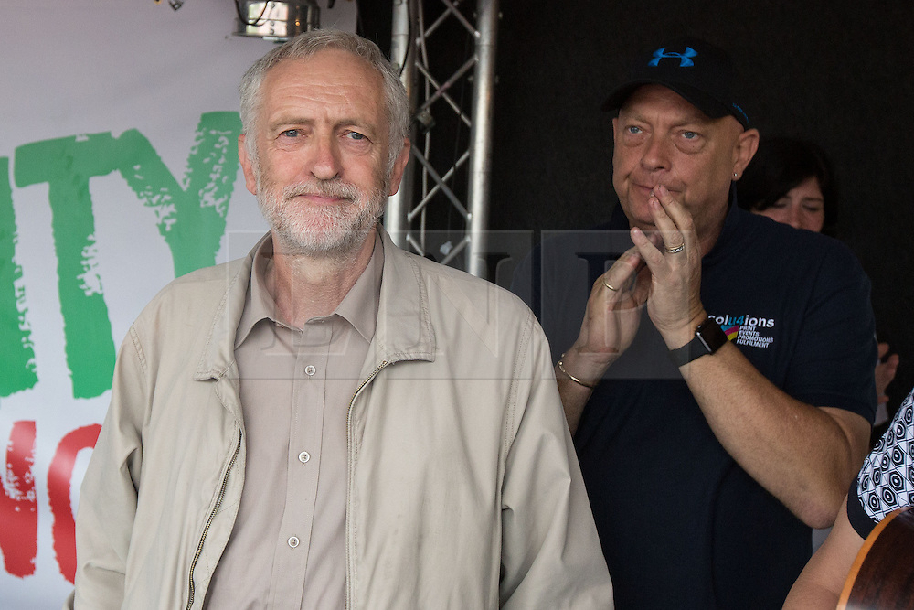 © Licensed to London News Pictures . 20/06/2015 . London , UK . JEREMY CORBYN in Parliament Square . Tens of thousands of people march from the Bank of England to Parliament , to protest economic austerity in Britain . Photo credit: Joel Goodman/LNP